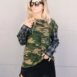 LF Furst Of A Kind Camo Flannel Top